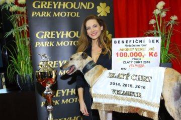 Andrea VEREŠOVÁ předává Chrtí Oskary Golden Greyhound Awards v Parku Motol
