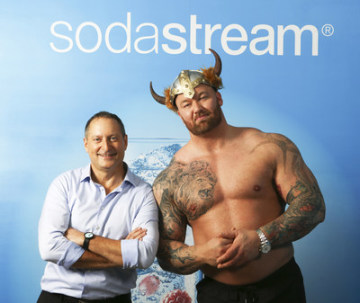 SodaStream CEO Daniel Birnbaum & Game of Thrones actor Thor Bjornsson (PRNewsfoto/SodaStream International Ltd.)