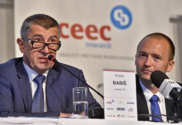 Premiér v demisi Andrej Babiš a ředitel společnosti CEEC Research Jiří Vacek