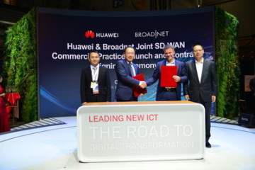 Podpisu rámcové smlouvy se zúčastnili: (zprava) Kevin Hu, President of Huawei's Network Product Line, Martin Lippert, CEO of Broadnet, Lucas Tan, CEO of Huawei Technologies Norway AS a Wang Shaosen, General Manager of Huawei's Enterprise Gateway Domain (PRNewsfoto/Huawei)