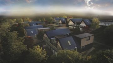 Návrh energeticky soběstačné čtvrti projektu Český ostrovní dům / autor: Zuzana Kopiláková