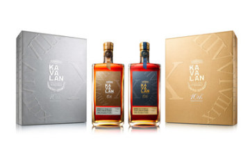 Kavalan 10th Anniversary Limited Editions, Kavalan Bordeaux Margaux and Kavalan Bordeaux Pauillac, fit together to complete the Roman numeral \\'X\\' with a stylised passage of time running in an arc across their designs