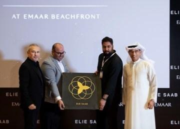 Elie Saab a Mohamed Alabbar při představení projektu