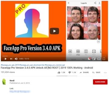 YouTube video které nabzí stažení instalačního balíku APK aplikace FaceAppPro pro Android