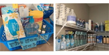 Dostatek nabídky dezinfekčních prostředků a dezinfekčních prostředků v kampusu Amerigo