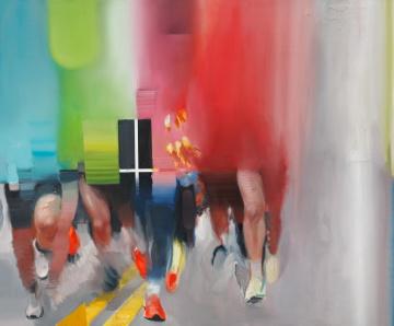 Tomáš Tichý, Běžci V, 2020, olej, akryl, plátno 150 × 180 cm