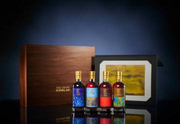 Umělecká řada whisky Kavalan. Zleva: Puncheon, Virgin Oak, French Wine Cask a Peated Malt