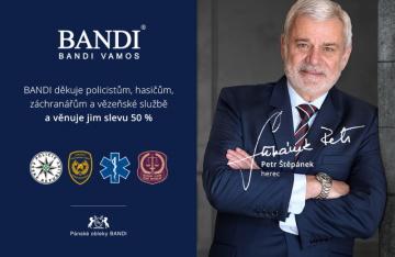 Majitel módní značky BANDI děkuje policistům, strážníkům, hasičům a záchranářům a věnuje jim slevu 50 %