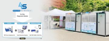 4S systém společnosti SEASUN BIOMATERIALS, mobilní molekulární diagnostický systém na COVID-19 umístěný v kampusu Soulské státní univerzity (SNU) (Foto: Business Wire)